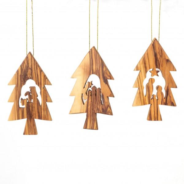 Baumschmuck Krippe 3er Set Tannenbaum Anhänger - ohne Rinde