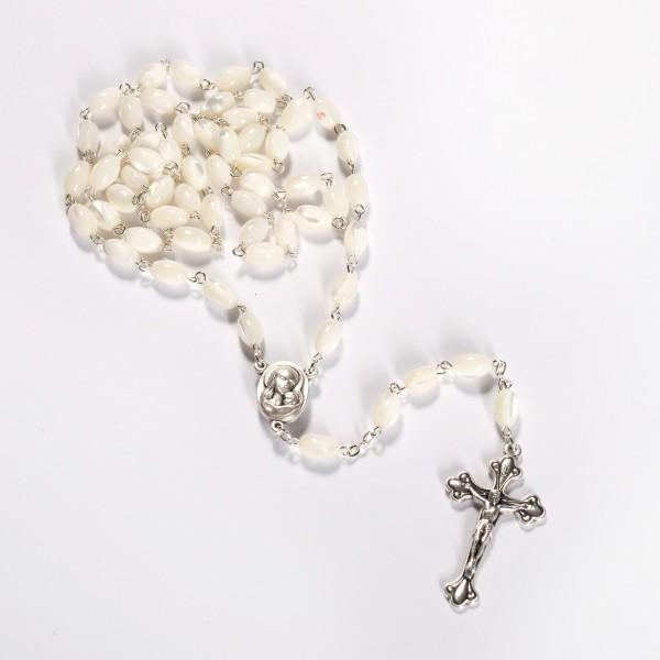 Rosenkranz mit ovalen Perlen aus Perlmutt 55 cm handgemacht und gute Qualität aus Bethlehem