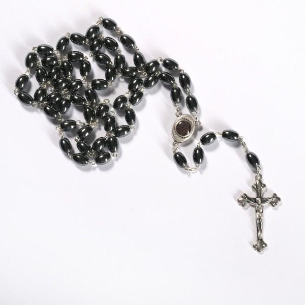 Rosenkranz mit ovalen Hämatitperlen 53 cm handgemacht und gute Qualität aus Bethlehem