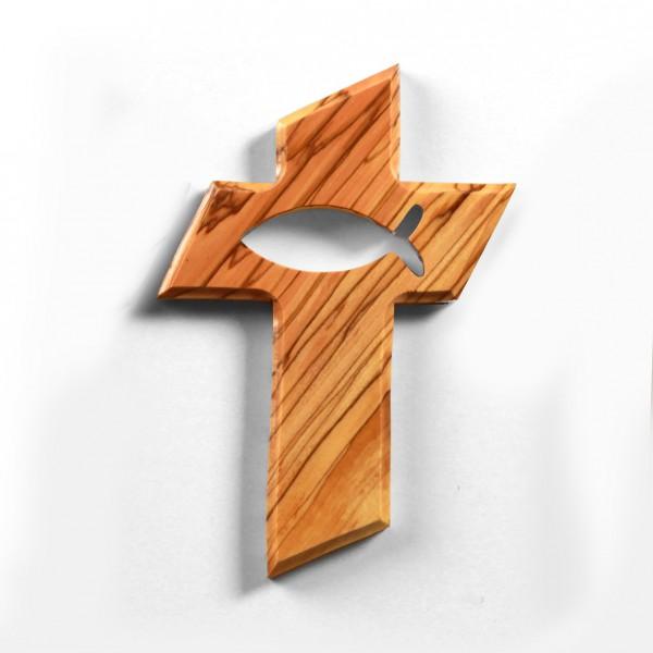 Kreuz mit Fisch 13 cm