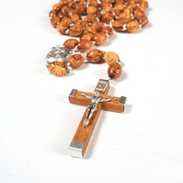 Rosenkranz mit dekorierten Perlen aus Olivenholz 50 cm handgemacht und gute Qualität aus Bethlehem