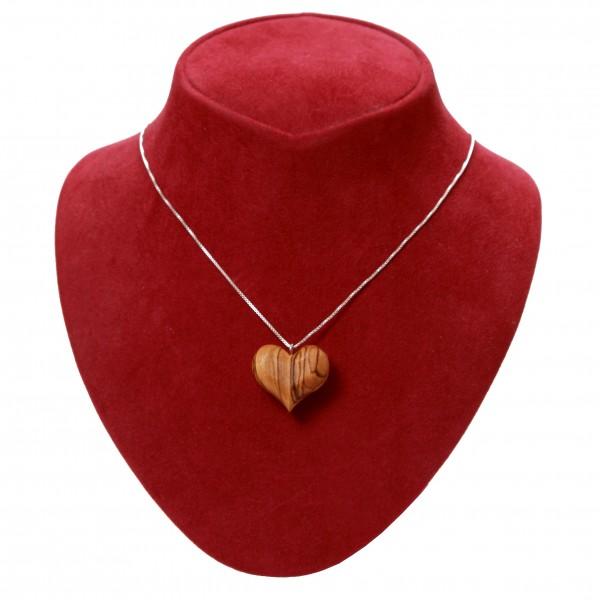 Olivenholz Herz mit silberner Halskette 925